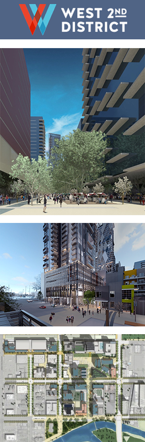 Rendering of West 2nd St district