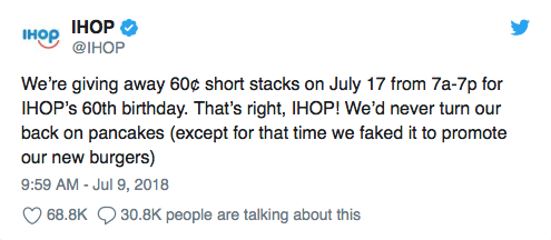 IHOP tweet confirming it was a fake name change