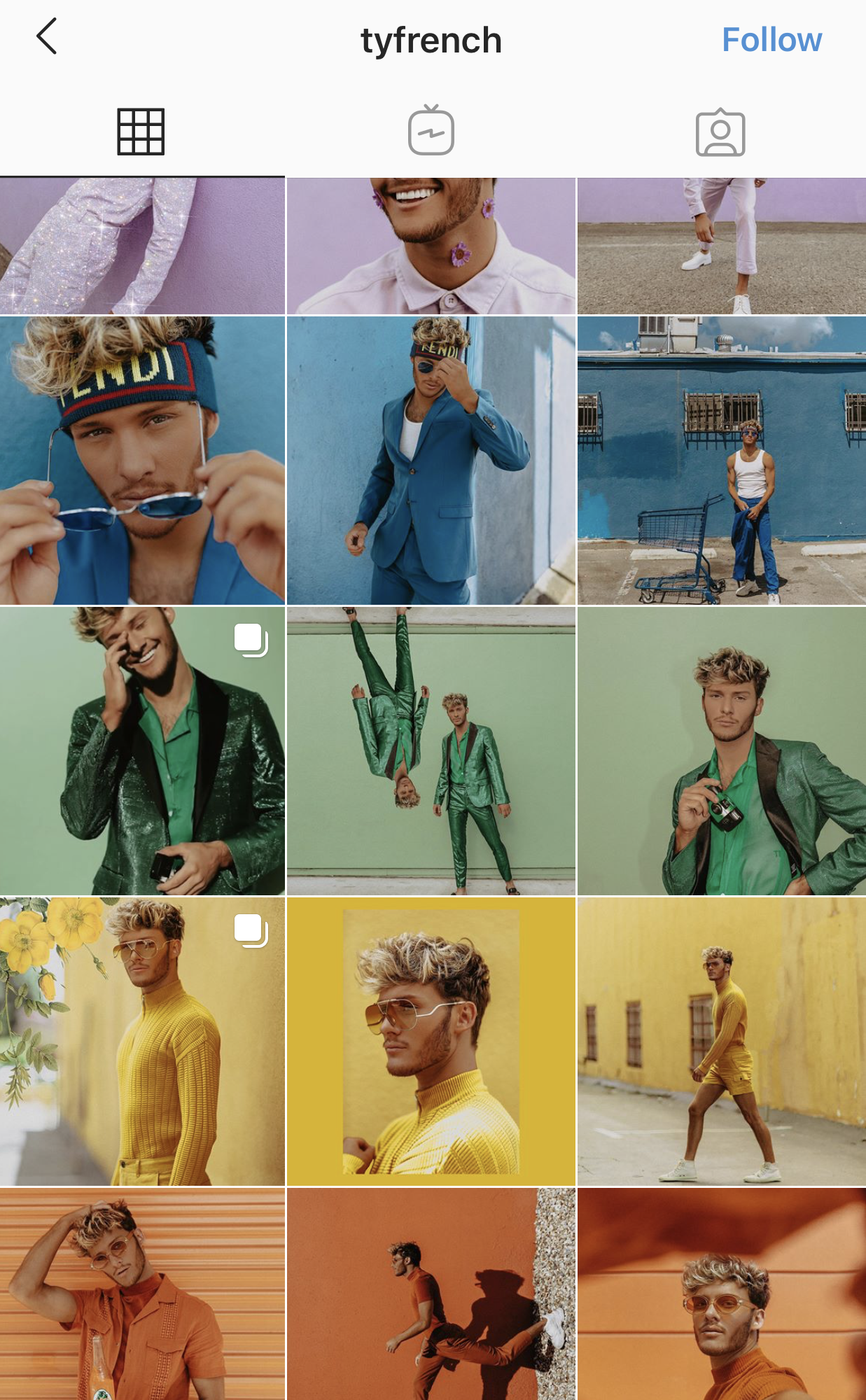 example of color grid on Instagram