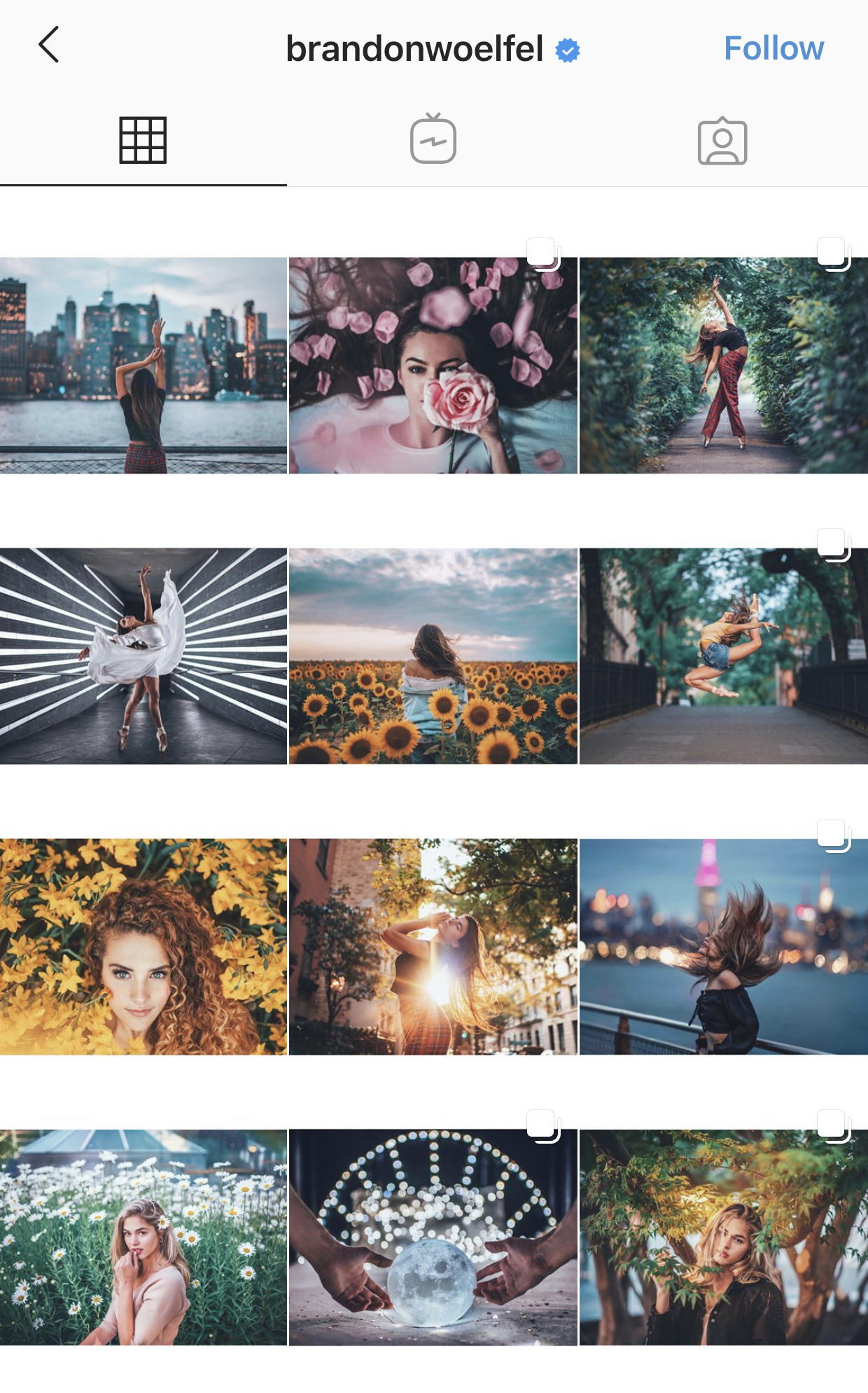 example of border grid on Instagram
