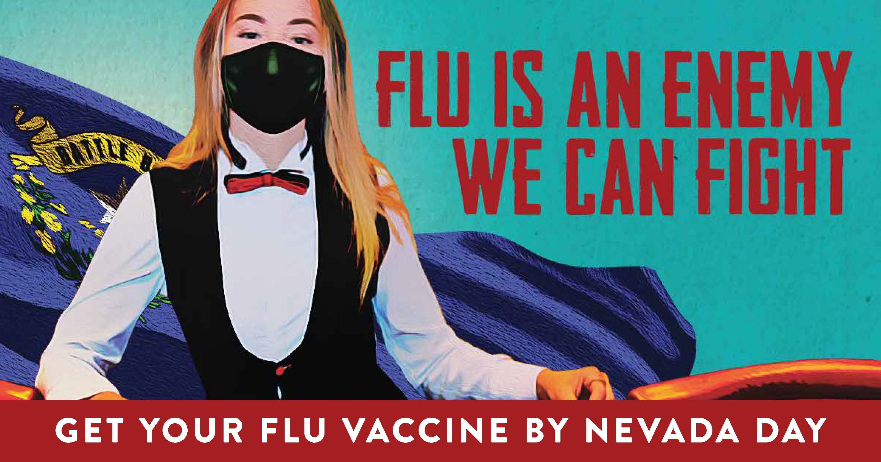 social media graphic for flu vaccination with essential worker
