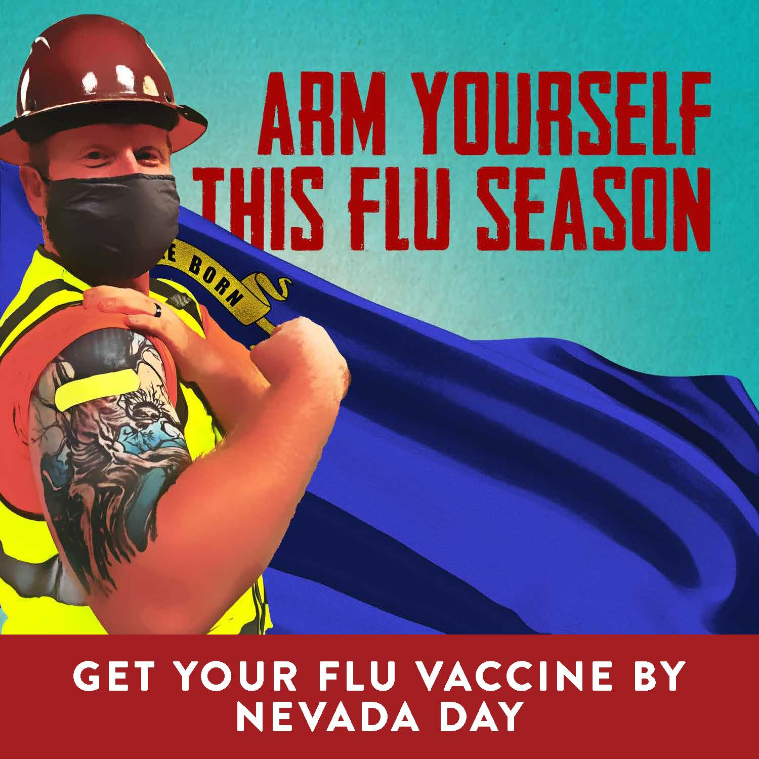 social media graphic for flu vaccination with construction worker