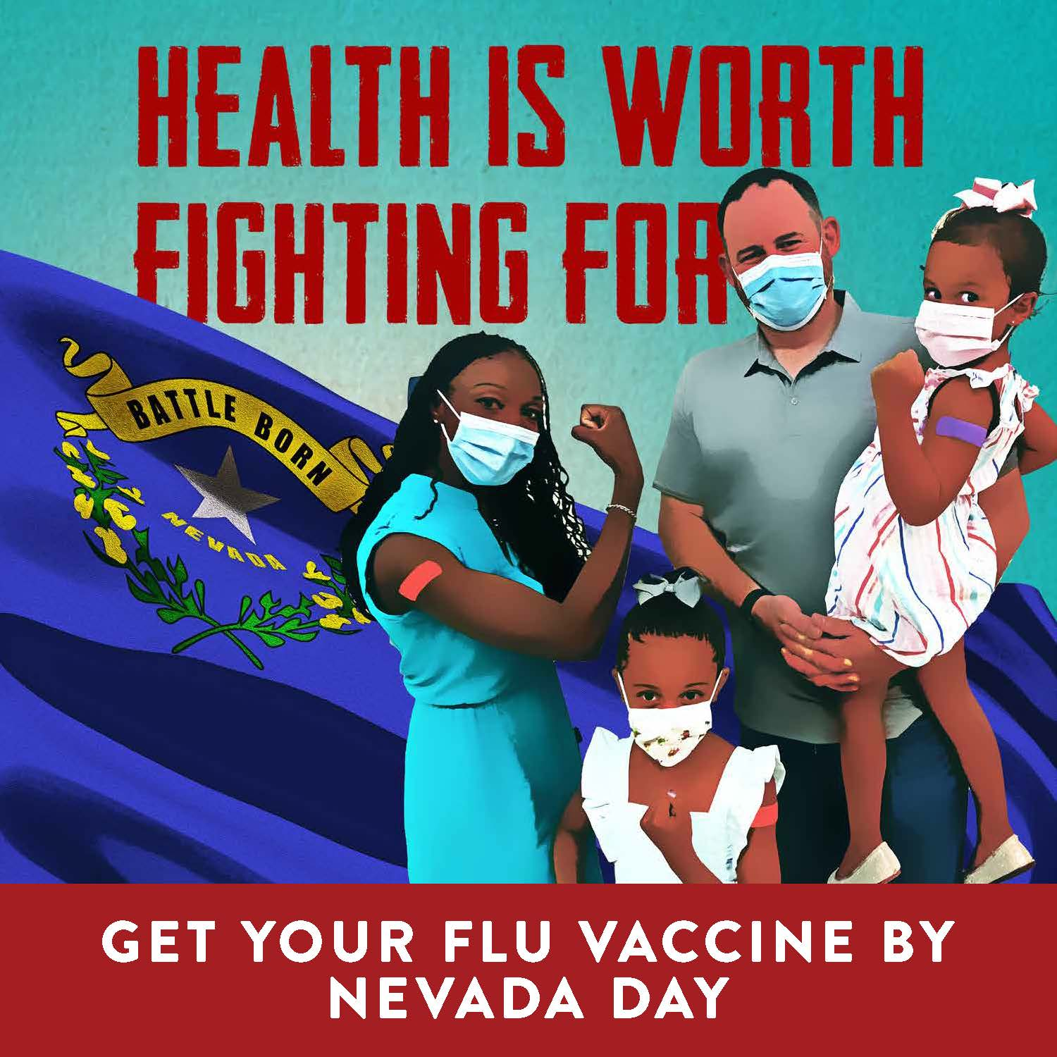 social media graphic for flu vaccination with family