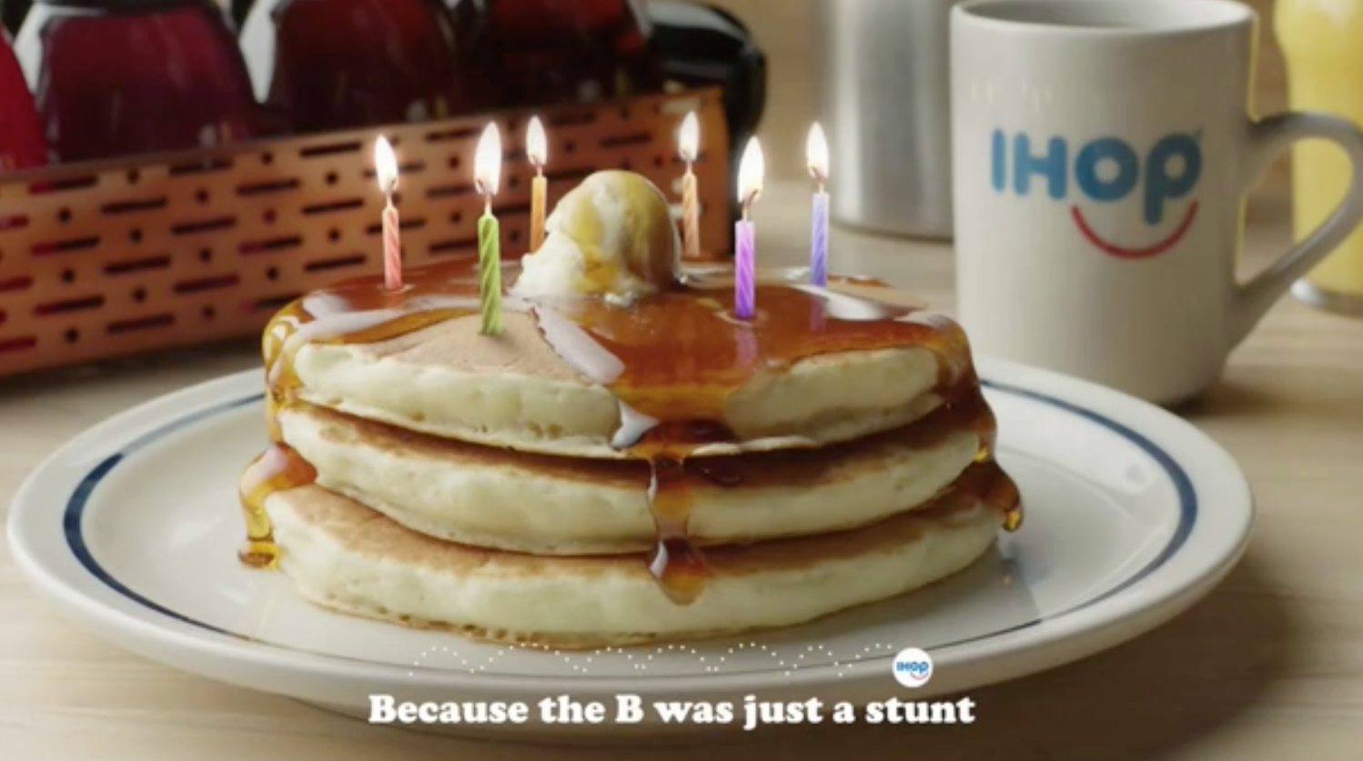 "IHOP screenshot with ""stunt"" in caption"