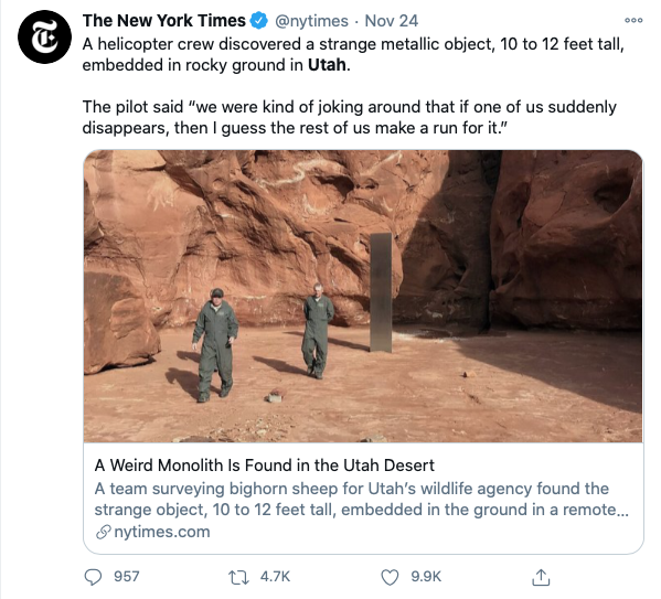 Tweet from New York Times about Utah Monolith
