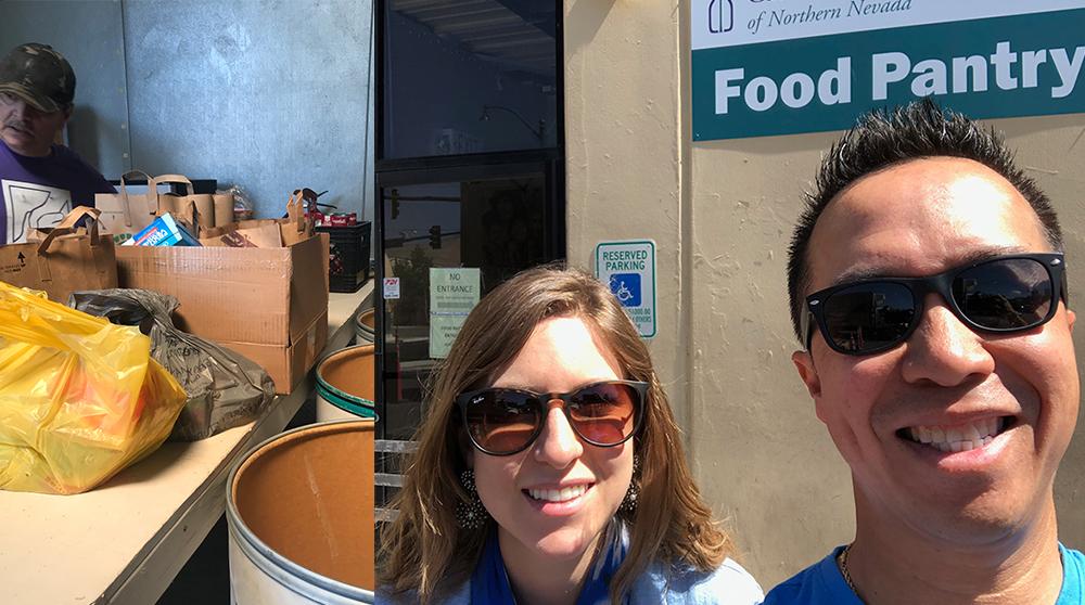 Nicole and Edward at food pantry