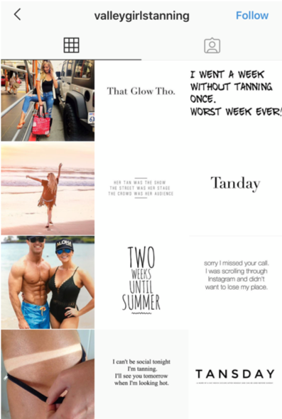 example of line grid on Instagram